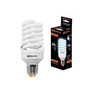 Лампа энергосберегающая КЛЛ-FST2-30 Вт-4000 К–Е27 КОМПАКТ (55х126 мм) TDM