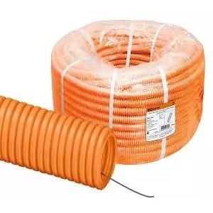 Труба гофр. ПНД d 16 с зондом (100 м) легкая оранжевая TDM
