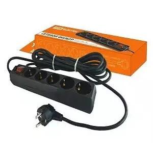 Сетевой фильтр СФ-05В выключатель, 5 гнезд, 3 метра, с заземлением, ПВС 3х1мм2 16А/250В черный TDM