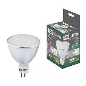 Лампа светодиодная MR16-7 Вт-12 В -3000 К–GU 5,3 SMD (с матовым стеклом) TDM