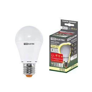 "Лампа светодиодная А60 - 10 Вт-230 В -3000 К–E27 ""Лампа-ДИММЕР"" TDM"