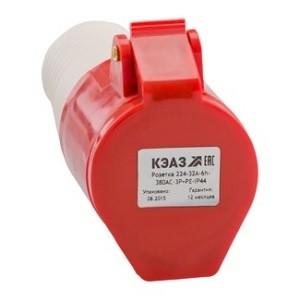 Розетка кабельная 224-32А-6h-380AC-3P+PE-IP44