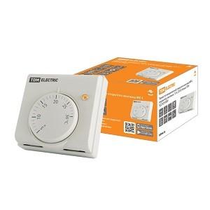Термостат механический открытого монтажа НТ-1, индикатор, вкл/выкл, 10 А, 230 В, белый, TDM