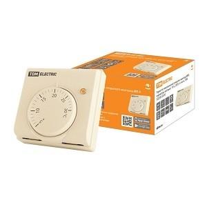 Термостат механический открытого монтажа НТ-1, индикатор, вкл/выкл, 10 А, 230 В, сл. кость, TDM